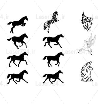 طرح لیزری اسب