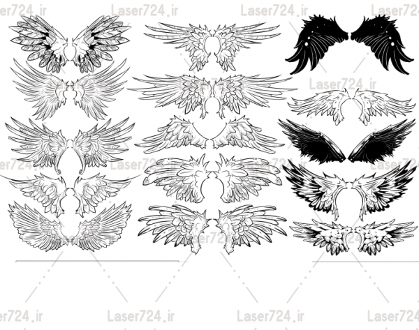 طرح لیزری بال پرنده