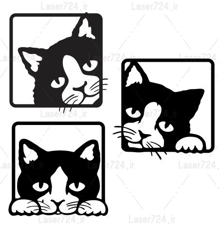 طرح لیزری تابلو گربه