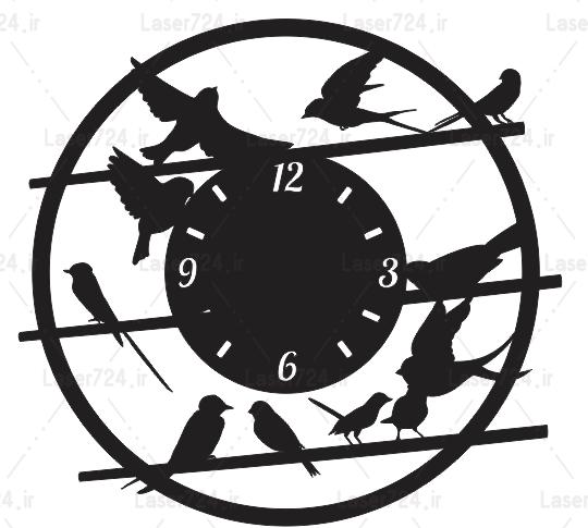 طرح لیزری ساعت پرندگان