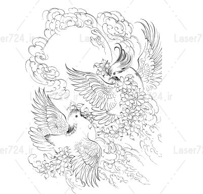 مینیاتور پرنده و آسمان