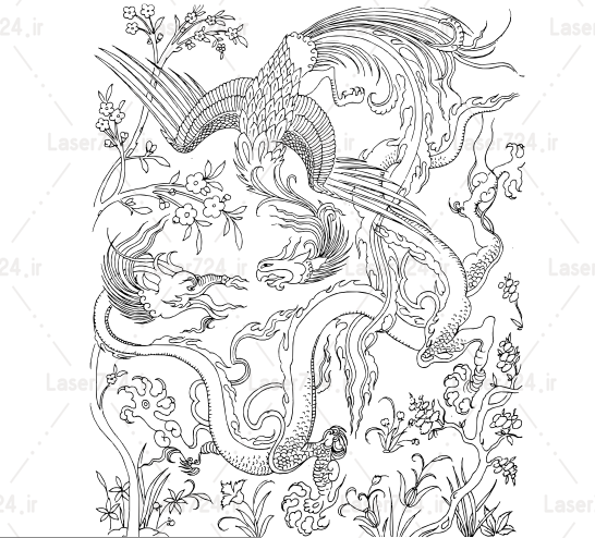 طرح مغرق مینیاتور اژدها