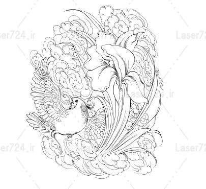 طرح مینیاتور گل و پرنده