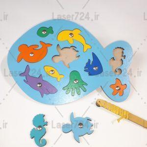 طرح لیزری پازل ماهی